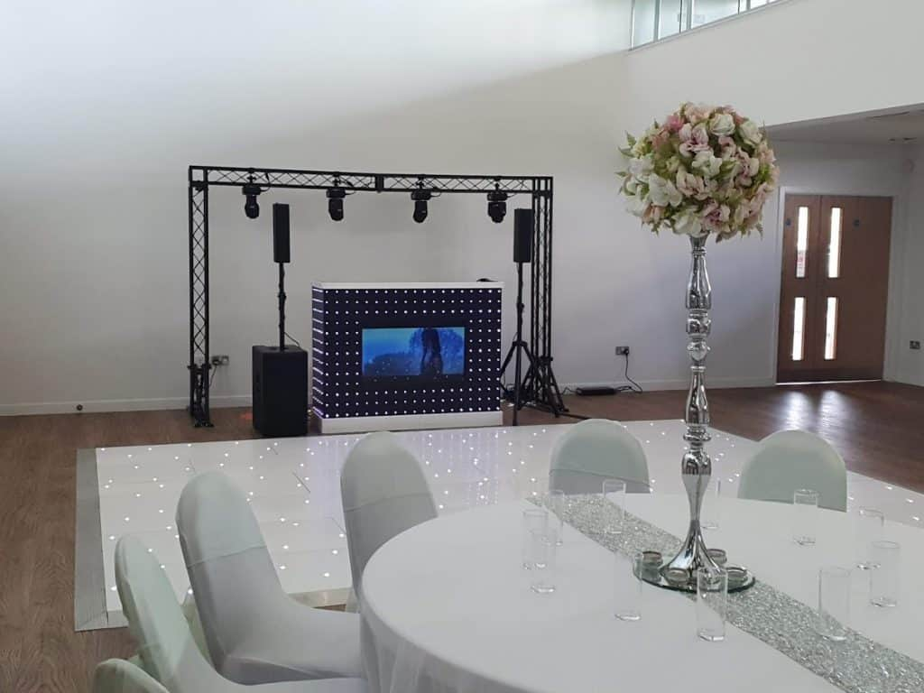 DJ Scott Dewing Wedding setup including starlit dancefloor and video DJ Booth LED Dancefloor