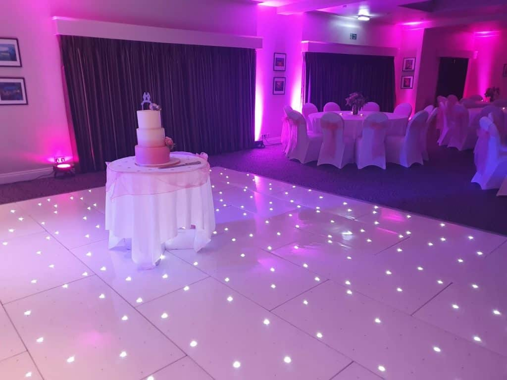 Starlit Dancefloor Hire supplied by DJ Scott Dewing at Prested Hall, Essex.