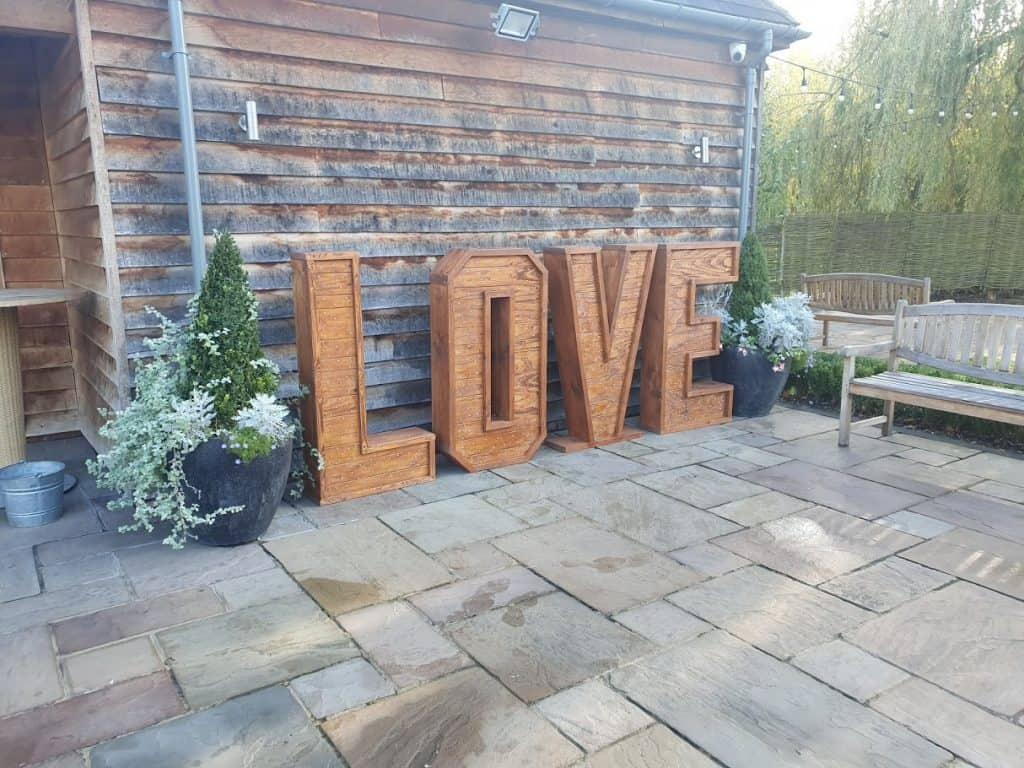 Rustic Outdoor Light Up Letters available from Wedding DJ Scott Dewing - Battery Powered and LED
