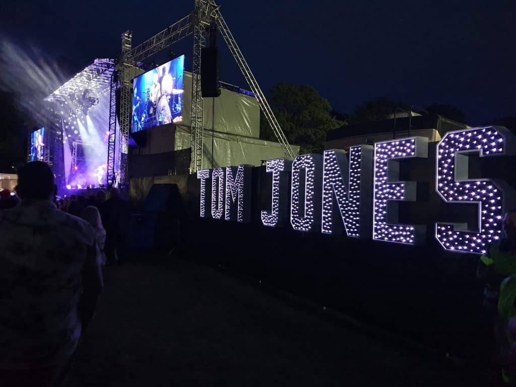 Corporate Event DJ Tom Jones Light Up Letters provided by Wedding DJ Scott Dewing to 2019 tour at Colchester Castle Park Essex.